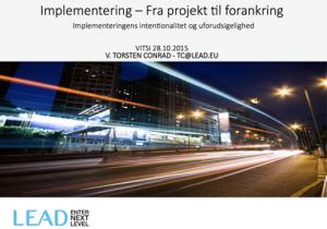 """Powerpoint forside af præsentationen """"Implementering - fra projekt til forankring"""""""