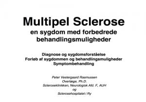 """Powerpoint forside af præsentationen """"Multiple Sclerose - en sygdom med forbedrede behandlingsmuligheder"""""""