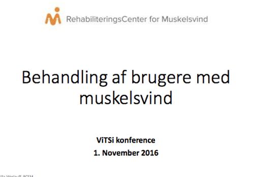 """Powerpoint forside af præsentationen """"Behandling af brugere med muskelsvind"""""""