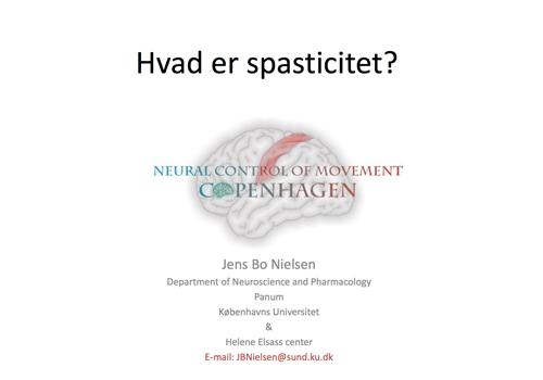 Powerpoint forside af præsentationen 'Hvad er spasticitet?'
