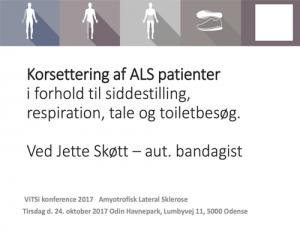 """Powerpoint forside af præsentationen """"Korsettering af ALS patienter"""""""